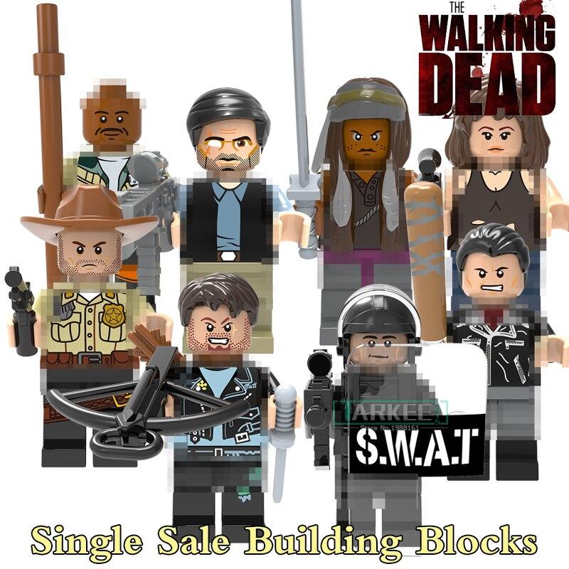 The Walking Dead Figures X0156 Action Building font b Blocks b font Michonne Daryl Dixon Maggie