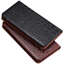 цена на HY11 Crocodile pattern genuine leather flip case for Blackberry Key2 phone case for Blackberry Key 2 phone bag free shipping