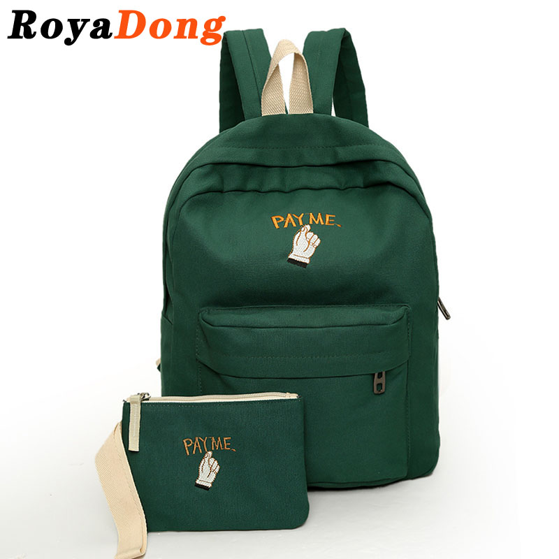 RoyaDong 2016 Canvas School Backpack Set Soft Back Solid Simple Preppy School Bags For Teenage Girls