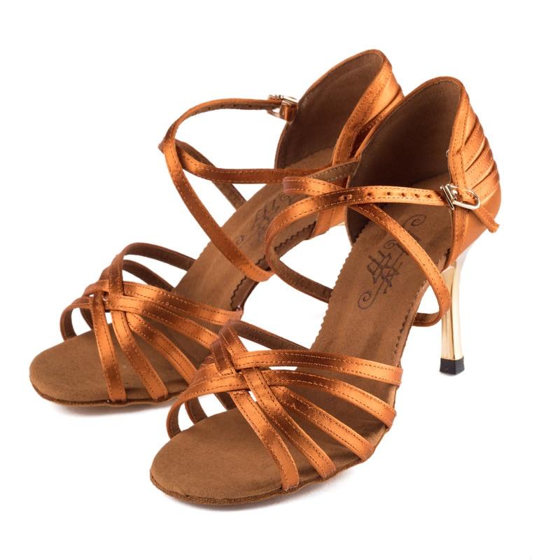 2017 Professional Latin Dance shoes Wholesale Satin Dark Complexion Soft Bottom Ballroom Women shoe Competition preferred