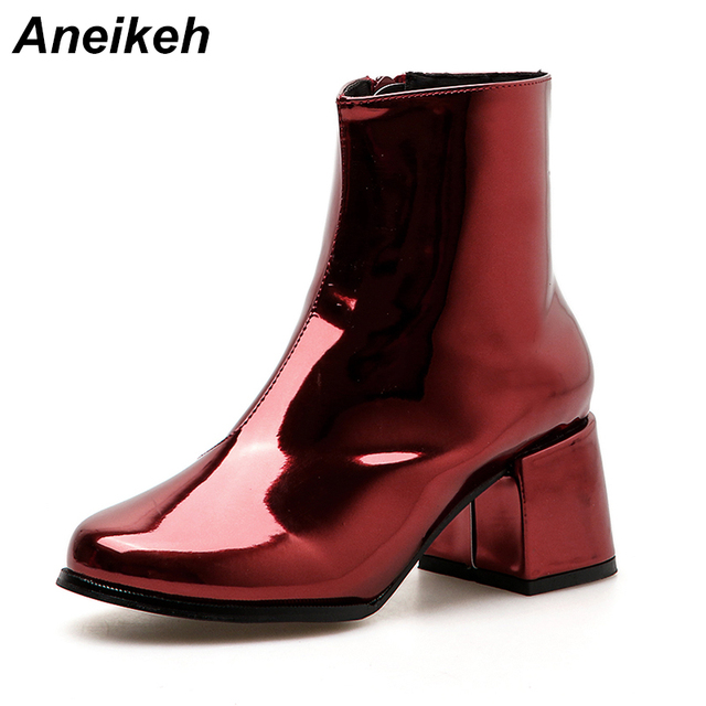 ad85f6fc96 Aneikeh Patent Leather Woman Ankle Boots Hot Fashion Autumn Short Boot  Round Toe Square Heel Concise Style Female Party Shoes