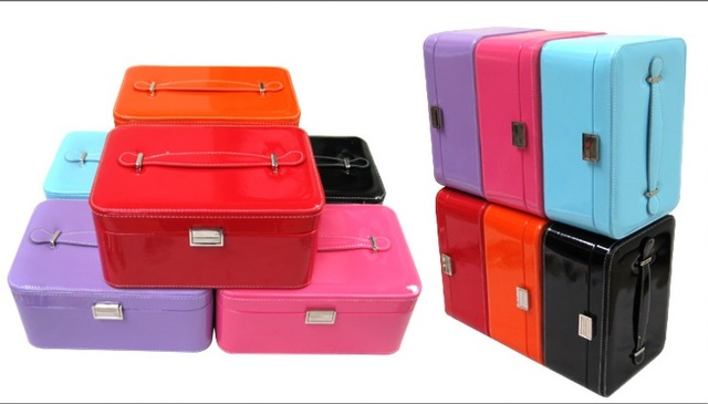 portable big jewelry box leather 2 layers storage case with mirror
