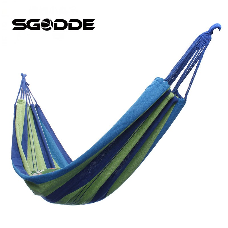 SGODDE Canvas Garden Hammock Outdoor Camping Portable Travel Beach Fabric Swing Bed Travel Camping Swing Canvas Stripe 2017 portable nylon garden outdoor camping travel furniture mesh hammock swing sleeping bed nylon hang mesh net