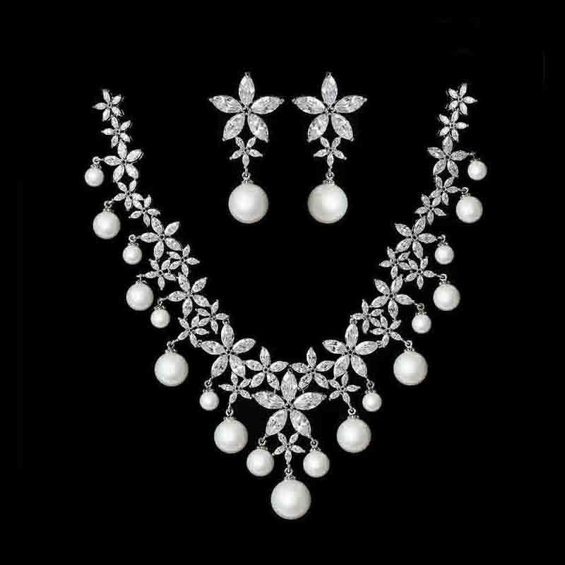 Moonso offre spéciale! Bijoux de mariée 925 collier en argent et oreilles de goutte bijoux exclusifs pour les femmes en gros J3202