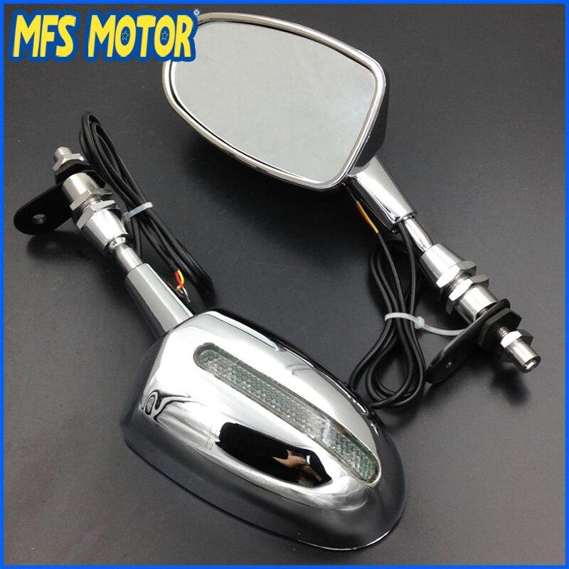 Livraison gratuite moto pour Honda LED rétroviseur CBR 600 F1 F2 F3 CBR 900 929 954 RR CHROME