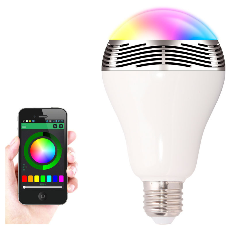 2 in 1 LED Light Bulb Lamp Wireless Bluetooth 4.0 Speaker E27 Base Music Player Sound Box Lighting with APP Remote Control