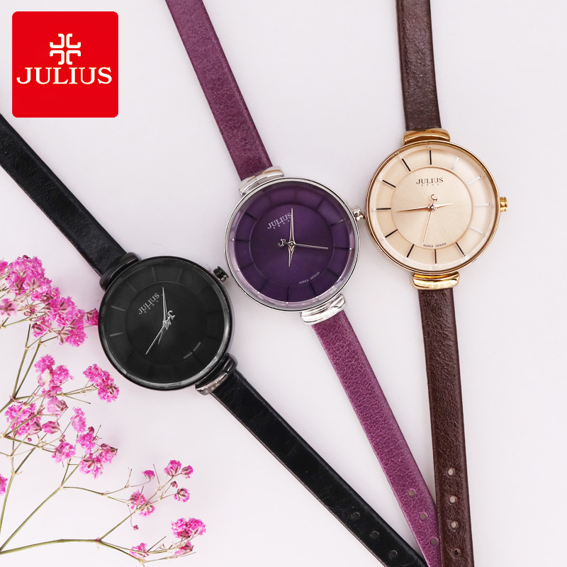 Top Julius Lady Woman Wrist Watch Elegant Simple Classic Fashion Hours Dress Bracelet Leather School Student Girl Gift JA-638