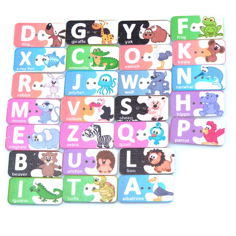 50pcs 2 Holes mixed Letter card Painted Wooden Buttons Fit Sewing and Scrapbooking 20x39mm Sewing Buttons For Craft DIY MT1538