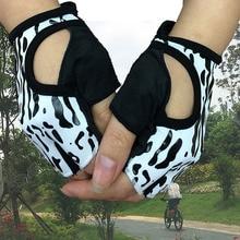 Lady leopard print gloves goddess half-finger cycling gloves for fitness training