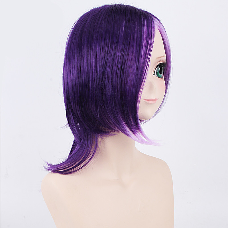 Hataraku Maou Sama! Lucifer Short Curly Purple Cosplay Wig for Anime Party 45cm Synthetic Hair Fake Hair Wig for Man Purple