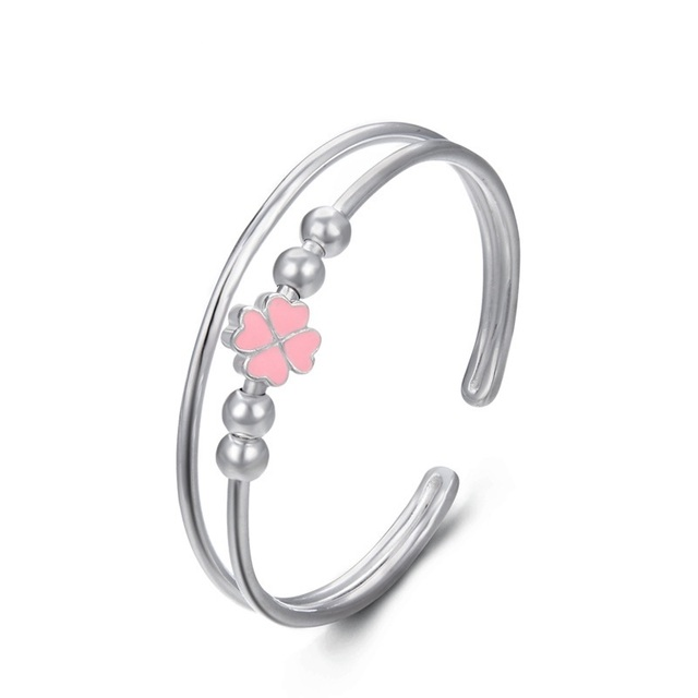 YJ00715 New 990 Pure Silver Jewelry Pink Drop Oil Four Leaf Clover Hand Ring Lady Opening Double Layer Handwear Women Bracelet
