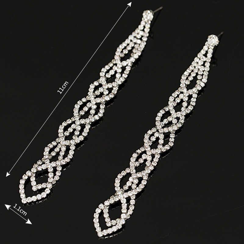 YFJEWE Mode Anmutige Frauen Abend Schmuck Voller Kristall Gefüllt Lange Tropfen Ohrringe Für Frauen Braut Mädchen Zubehör # E021
