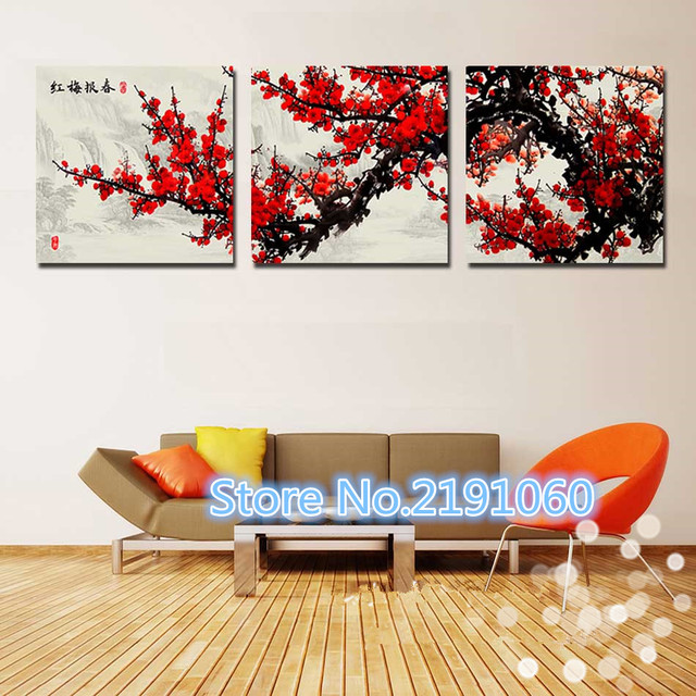 3 piece wall art canvas painting home decor dark red chinese flower tree modern wall pictures