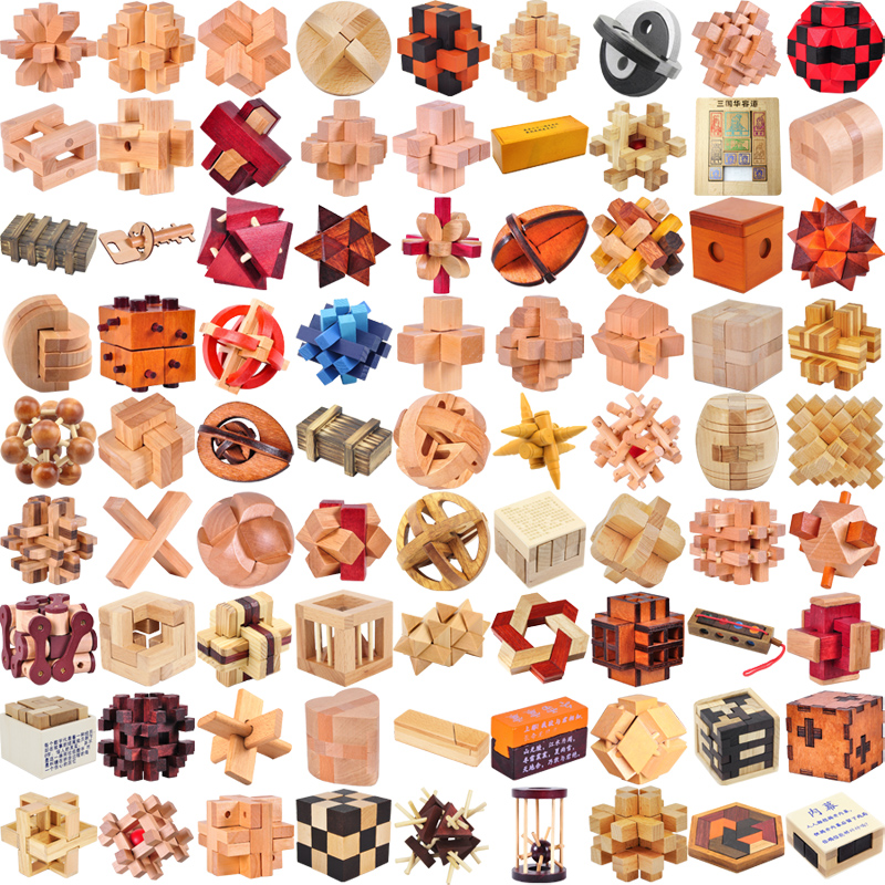 Classic IQ 3D Wooden Puzzle Mind Brain Teaser Interlocking Burr Puslespill Spill Leker For Voksne Barn Kids