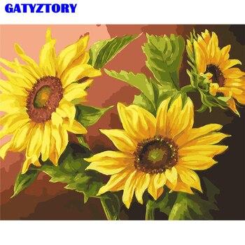 Gatyztory 프레임 해바라기 diy 그림 번호로 handpainted 유화 현대 벽 예술 그림 홈 장식 40x50 cm 삽화