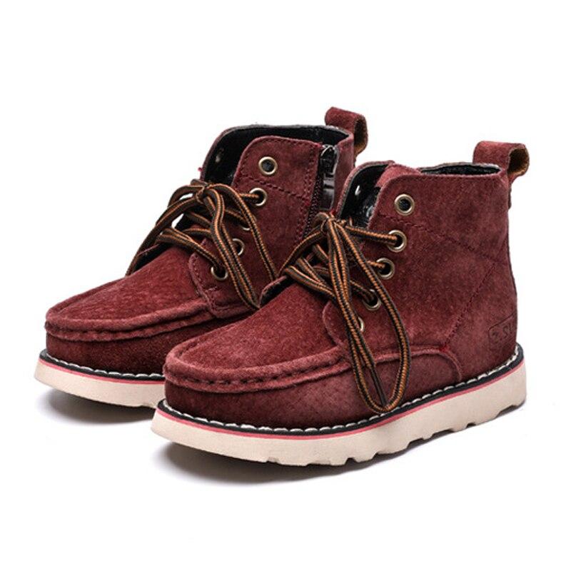 Размер 21 37, детские ботинки высокого качества из натуральной кожи, детские ботинки, модные Нескользящие зимние ботинки для девочек и мальчиков, зимняя обувь