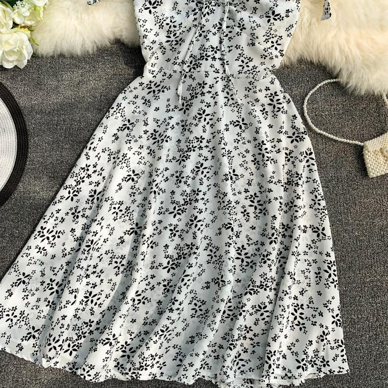 Holiday 2019 New Flower Print V-collar Drawstring High Waist Slim A-line Beach Dress Women Vestidos 21