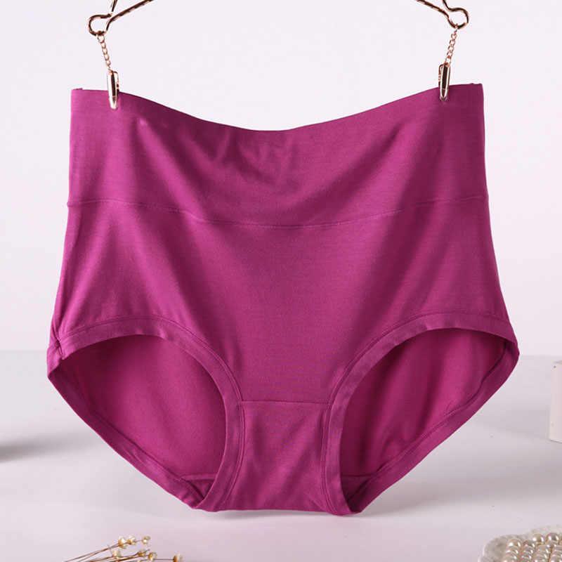 b71897bfc17 VU087 Plus Size 6XL 7XL High Waist Women Underwear Bamboo Fiber Comfortable Female  Briefs Panties Solid