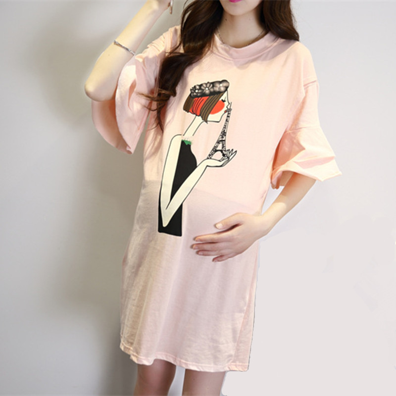 Spring Summer Printing Expectant Mother Casual Cotton Nursing Dress Horn Sleeve Loose Maternity Dress Pregnant Women Clothes