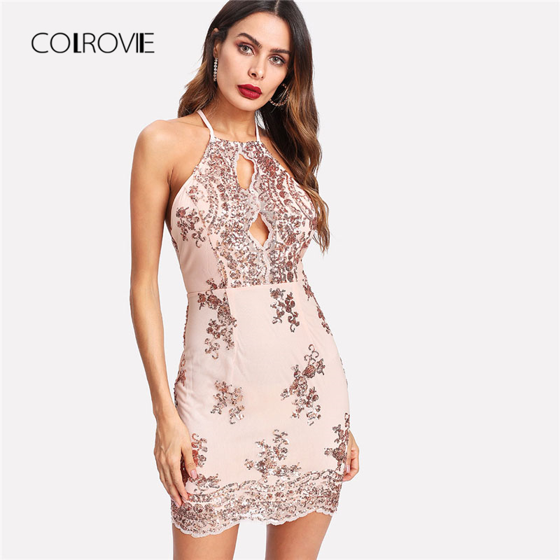 COLROVIE Split Front Sequin Racer Sexy Dress 2018 Summer Sleeveless Halter Bodycon Women Dress Pink High Waist Short Party Dress