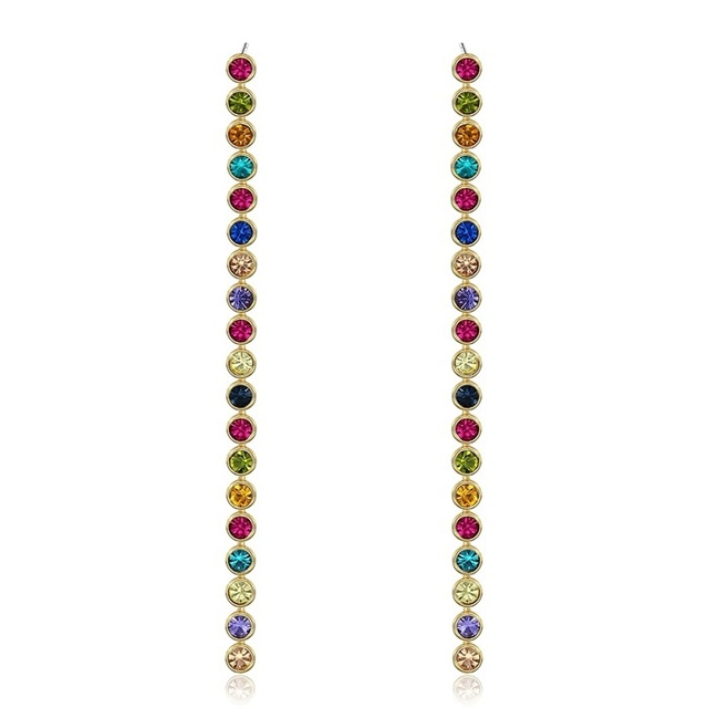 New Womens Yellow Gold Plated Multi Color Crystals Pave Drop Earrings Long Chain Dangle Festival