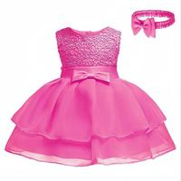 Baby Girls Rose Lace Flower Girl Tutu Dress Princesses Party Birthday Wedding Half Birthday Dress 0 24Months with Headband