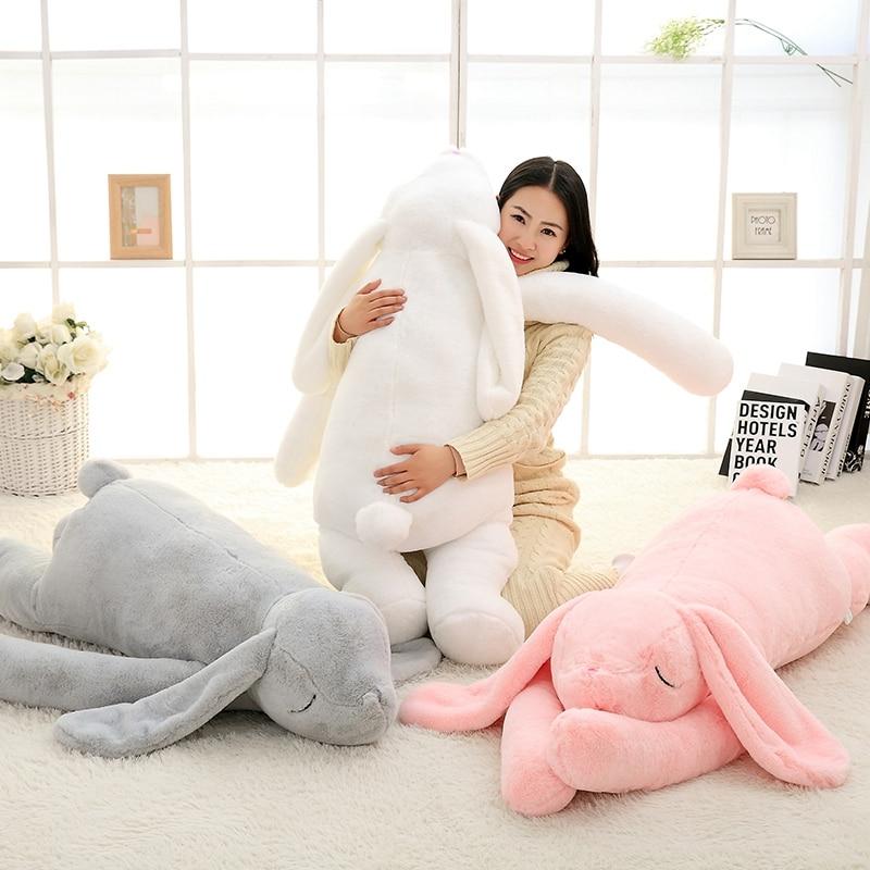 Joli Animal géant 90cm 120cm dessin animé doux grande oreille lapin en peluche jouet lapin en peluche oreiller fille cadeau