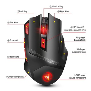 Image 2 - HXSJ new wireless 2.4G gaming mouse wireless mouse 7 key macro definition 4800 adjustable DPI office PC notebook mice