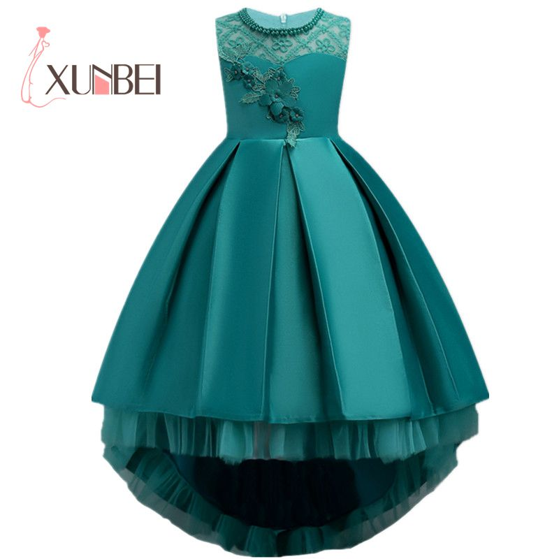 High Low Green Girls Pageant Dresses With Pears Tulle Flower Girl Dresses Kids First Communion Dresses Evening Party Gowns 2016wedding gowns kids formal party christening communion flower girl dresses infant pageant dresses for little girls 80 130cm