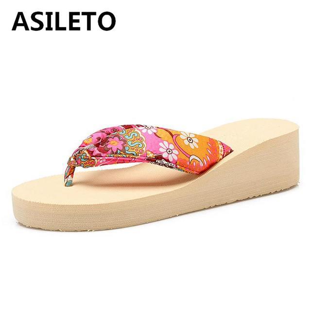 08f857f569ad9 ASILETO Summer New Bohemia Satin Slope Heel Beach Female Flip Flops Print  Flower Shoes Women Slippers Wedges Platform SandalT012