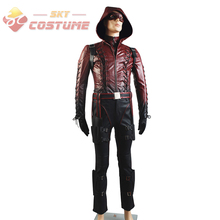 Green Arrow Season 3 Red Arrow Roy Harper Arsenal Adult Men Red Leather Set Halloween Cosplay Costume Hoodie Suit Mask In Stock