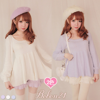 Princess sweet lolita sweater BOBON21exclusive custom pearl chest bow behind skirt knit sweater T1125z
