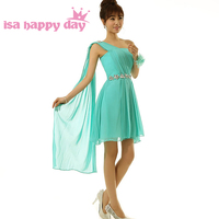 one shoulder draped bridesmaid dresses short turquoise brides maid a line summer dress plus size for wedding guests H2701