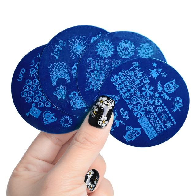 2 шт ногтей шаблон штамповки Dreamcather Фламинго цветок кружева штамп с изображением фрукта пластины ногтей форма трафарет Инструменты маникюр