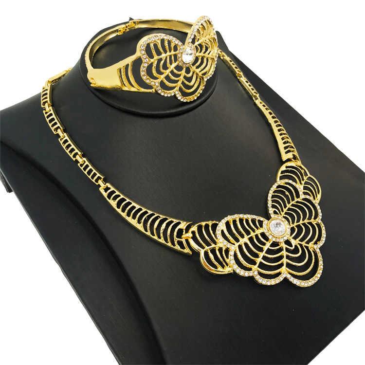 תכשיטים אפריקאים סטי 18 זהב גיאומטרי שרשרת סט פרפר זהב אמנות ניגרית תכשיטים לנשים