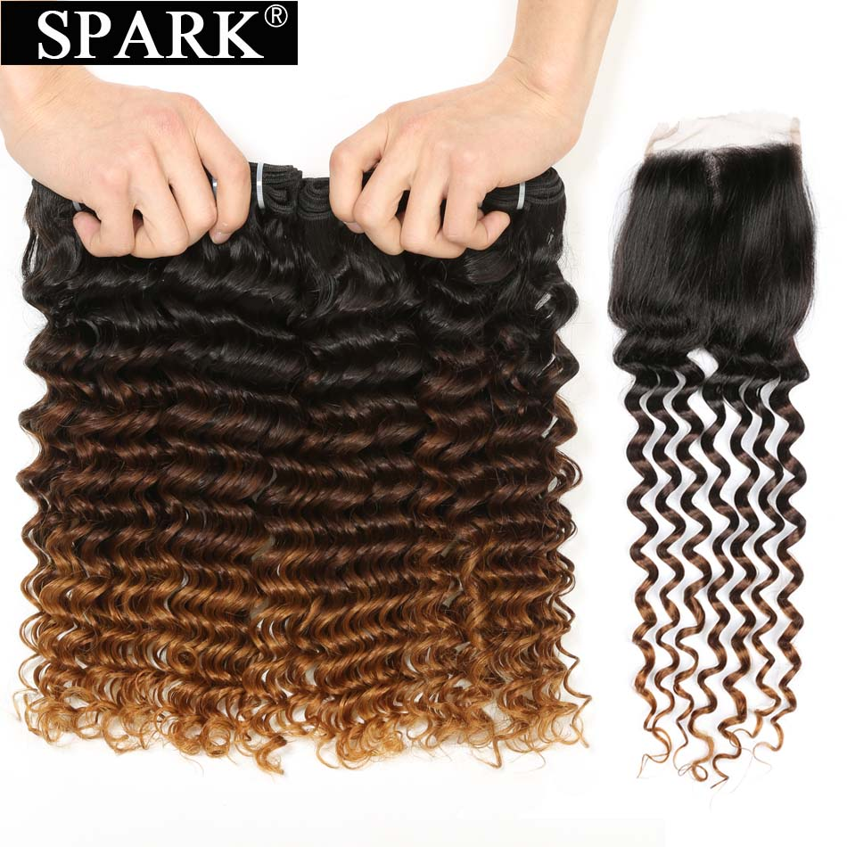 SPARK Ombre Brazilian Deep Wave Human Hair Weave 4 or 3 Bundles with Closure 100 Remy