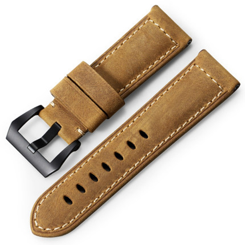 iStrap 22mm Watchband Belt Assolutamente Leather Replacement <font><b>Watch</b></font> <font><b>Strap</b></font> With tang Buckle For Panerai WatchBand For PAM image