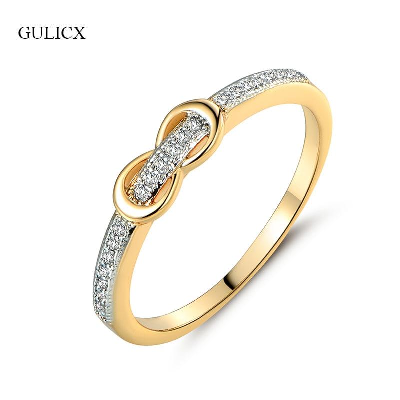 GULICX फैशनेबल कमर बेल्ट महिलाओं के लिए छोटे मिडी उंगली के छल्ले के रूप में सोने के रंग CZ प्यारा गाँठ-धनुष के छल्ले सगाई के गहने R256 के लिए