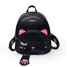 Gato mochila preta estilo preppy mochilas escolares engraçado qualidade da moda couro pu bolsa de ombro mulheres viagem back pack saco xa531b(China (Mainland))