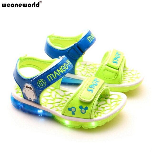 WEONEWORLD Летние Дети СВЕТОДИОДНЫЕ Обувь Зеленый/розовый/коричневый Flasher Малыш Сапоги Девочек и Мальчиков Сандалии Детская Обувь Девочек обувь