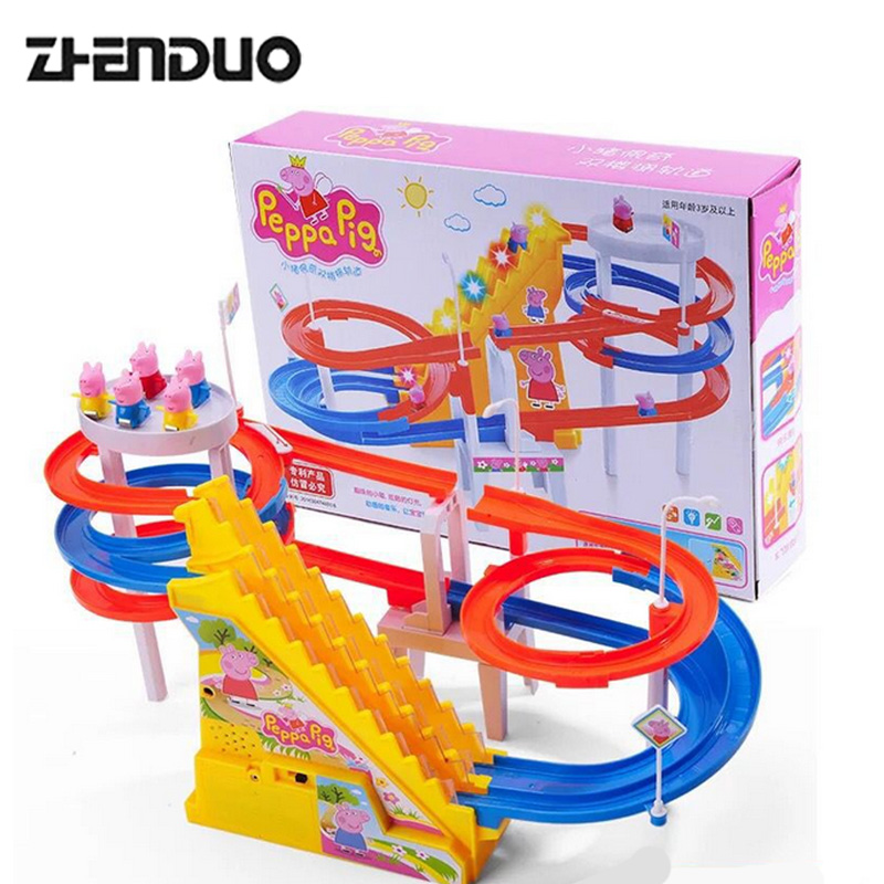 ZhenDuo Electric Double Stairs Track Car Toys with Light & Music Shine in the Darkness Rail for Kids Gifts
