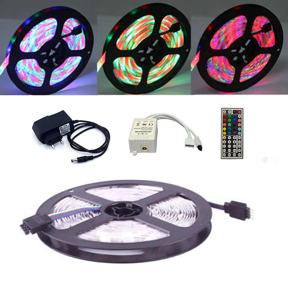 ECLH RGB LED Strip Light Waterproof 2835 SMD 5M 60Leds Flexible Light Ribbon IR Remote Controller 12V 2A Power Adapter LED Tape