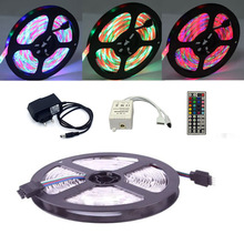 ECLH RGB LED Strip Light Waterproof 2835 SMD 5M 60Leds Flexible Ribbon IR Remote Controller 12V 2A Power Adapter Tape