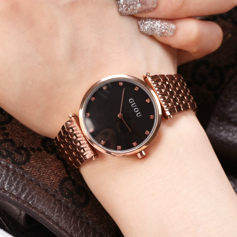 Women Watches Women GUOU Ultra Thin Stainless Steel Quartz Wrist watch Bracelet Rhinestones ladies watch montre Femme clock deepshell full crystal diamond women stainless steel bracelet quartz gold watch female ladies dress wrist watches montre femme