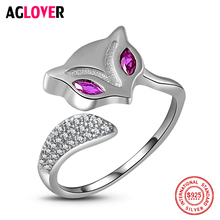 100% Sterling Silver Woman Ring Charm Fox Inlaid AAA Ruby Ring Female 925 Silver Fashion Jewelry
