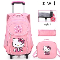 Buy 1 get 3 Hello Kitty Children School Bags set Kids Suitcase With Wheels Trolley Luggage For Girls Travel Trolley backpack