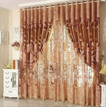 Luxury Window Curtains for Living Room Blackout Curtain+Tulle for Hotel Window Treatment Beaded Red/Purple/Brown/Grey
