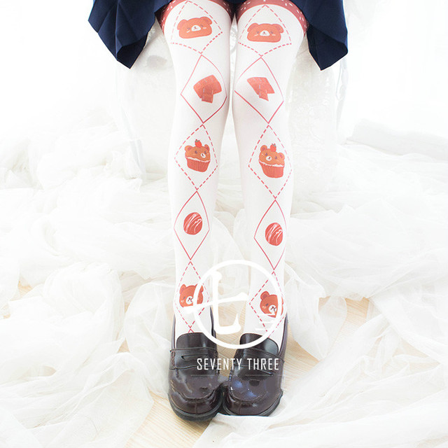 Princess sweet lolita Japanese Princess Lovely Sweet dessert bear pantyhose socks ak8