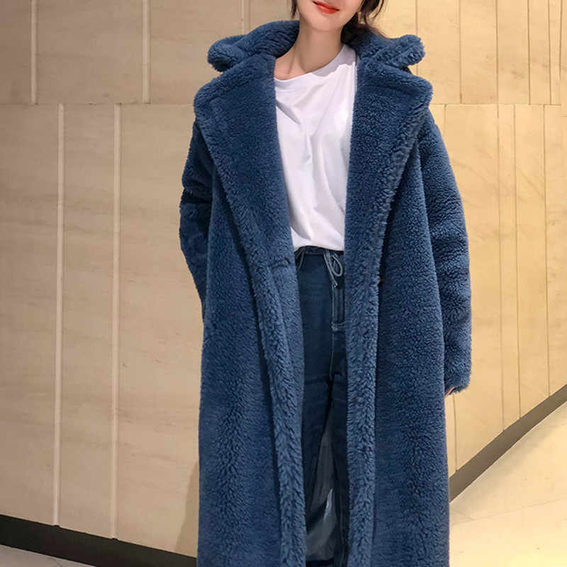 7 colors S-XL Casual Women Woolen teddy long Coat womens 2018 Winter solid color Loose Female thicking Wool Blends coat (Q8010)