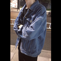 Student 2017 Autumn England Style Unique Denim Jackets Coats Men Casual Loose Do Old Retro Denim
